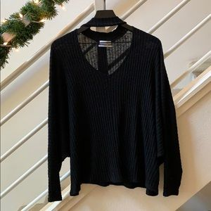 Deep V, long sleeve sweater
